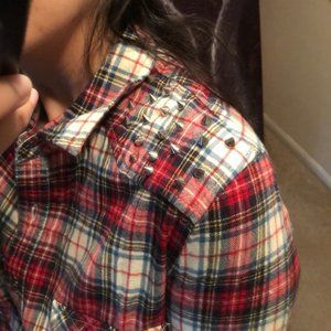 forever 21 Flannel Shirt Spike Stud Plaid Button M